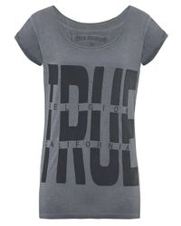 True Religion | Gray Boxy Crew T-shirt | Lyst