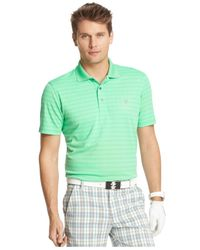 Izod - Green Striped Jacquard Performance Polo for Men - Lyst