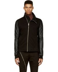DRKSHDW by Rick Owens - Black Leather and Jersey Top for Men - Lyst