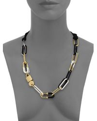Marc By Marc Jacobs | Black Padlock & Key Bubble Link Necklace | Lyst