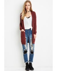 Forever 21 - Brown Classic Open-front Cardigan - Lyst