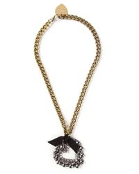 Lanvin | Metallic 'mira' Heart Pendant Necklace | Lyst