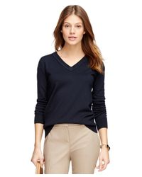 Brooks Brothers | Blue Silk Blend V-neck Sweater | Lyst