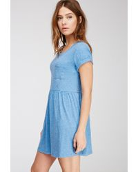 Forever 21 - Blue Heathered Babydoll Dress - Lyst