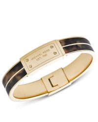 Michael Kors | Metallic Heritage Gold And Tort Plaque Bangle | Lyst