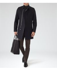 Reiss - Blue Retrograde Wool Blend Coat for Men - Lyst