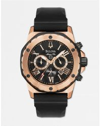 Bulova Men's Marine Star Chronograph Rose Gold Black Silicone Watch- 98b104 for men
