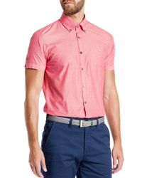 Ted Baker - Red Knightd Striped Fil Coupe Slim Fit Button Down Shirt for Men - Lyst