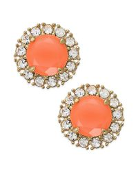 Kate Spade | Orange New York Goldtone Florescent Coral Stud Earrings | Lyst