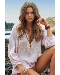 Melissa Odabash | Pink Embroidered Voile Top | Lyst