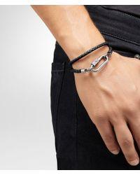 Bottega Veneta - Metallic Bracelet In Nero Intrecciato Nappa And Silver for Men - Lyst