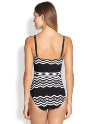La Blanca - Black Onepiece Groove Belted Swimsuit - Lyst