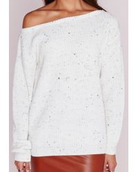 Missguided | Petite Ophelita Off Shoulder Jumper White | Lyst