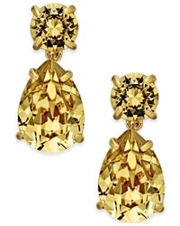 kate spade new york | Metallic Gold-tone Crystal Drop Earrings | Lyst