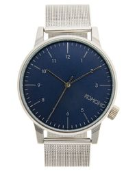 Komono | Blue 'winston' Round Dial Strap Watch for Men | Lyst