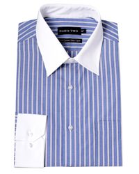 Double Two | Blue Stripe Classic Fit Classic Collar Formal Shirt for Men | Lyst