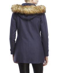 Marc New York | Blue Cara Faux Fur Trim Toggle Coat | Lyst