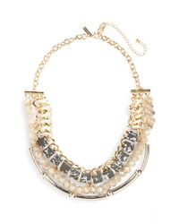 TOPSHOP | Metallic Chunky Stone & Crystal Statement Necklace | Lyst