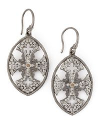Armenta | Metallic New World Diamond Maltese Cross Shield Earrings | Lyst
