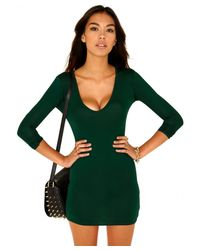 Missguided - Felisia Value Bodycon Mini Dress In Deep Green - Lyst