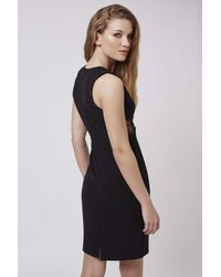 TOPSHOP - Black Petite V-neck Lace Midi Dress - Lyst