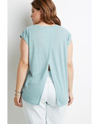 Forever 21 - Green Heathered Slit-back Tee - Lyst
