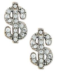 Juicy Couture | Metallic Gold-Tone Pave Dollar Sign Stud Earrings | Lyst