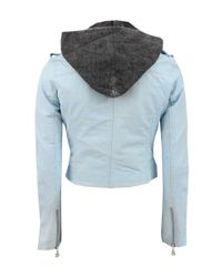 Doma Leather - Blue Crop Leather Jacket With Hood - Lyst