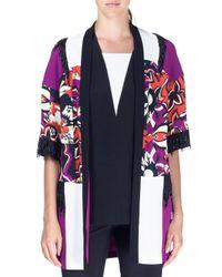 Etro - Purple Cubist Floral Embellished Cady Topper Jacket - Lyst