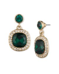 Givenchy | Green Pave And Crystal Cushion Drop Earrings | Lyst