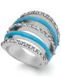 INC International Concepts | Blue Silver-tone Crystal And Turquoise Dome Stretch Ring | Lyst