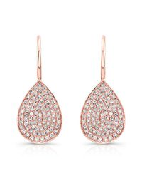 Anne Sisteron - Pink 14kt Rose Gold Diamond Small Pear Shaped Earrings - Lyst