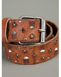 Paul & Joe - Brown Studded Leather Belt for Men - Lyst