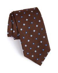 David Donahue - Brown Geometric Silk Tie for Men - Lyst