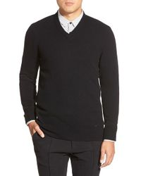 HUGO | Black 'sasselor' Extra Trim Fit Cashmere & Virgin Wool V-neck Sweater for Men | Lyst