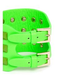 Valentino | Green Rockstud Wide Leather Bracelet | Lyst