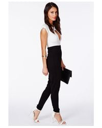 Missguided - Black Miyake Keyhole Structured Jumpsuit in Monochrome - Lyst