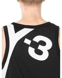 Y-3 - Black Logo Detail Cotton Jersey Tank Top for Men - Lyst