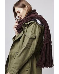 TOPSHOP - Purple Cable Hand Knit Scarf - Lyst