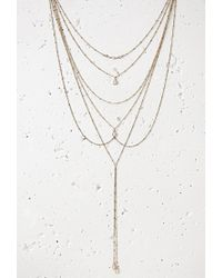 Forever 21 - Metallic Faux Stone Front And Back Necklace - Lyst