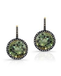 Anne Sisteron | 14kt Oxidized Yellow Gold Green Amethyst Diamond Round Earrings | Lyst