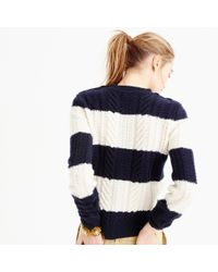 J.Crew - Blue Perfect Cable Sweater In Stripe - Lyst