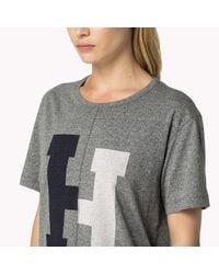 Tommy Hilfiger | Gray Cotton Blend H T-shirt | Lyst