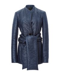 Cushnie et Ochs | Blue Quilted Coat With Sash | Lyst