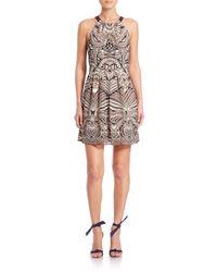 BCBGMAXAZRIA - Brown Cambria Printed Halter Dress - Lyst