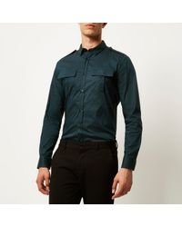 River Island - Teal Green Slim Stretch Military Shirt for Men - Lyst