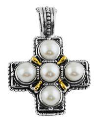 Konstantino - Metallic Silver & 18k Pearl Square Cross Pendant Enhancer - Lyst