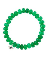 Sydney Evan | 8Mm Faceted Green Onyx Beaded Bracelet With 14K White Gold/Diamond Small Evil Eye Charm (Made To Order) | Lyst