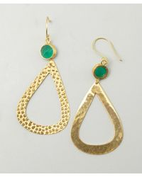 Wendy Mink | Green Onyx And Pebbled Gold Teardrop Earrings | Lyst