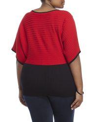 Joseph A | Red Plus Size Button Detail Poncho Top | Lyst